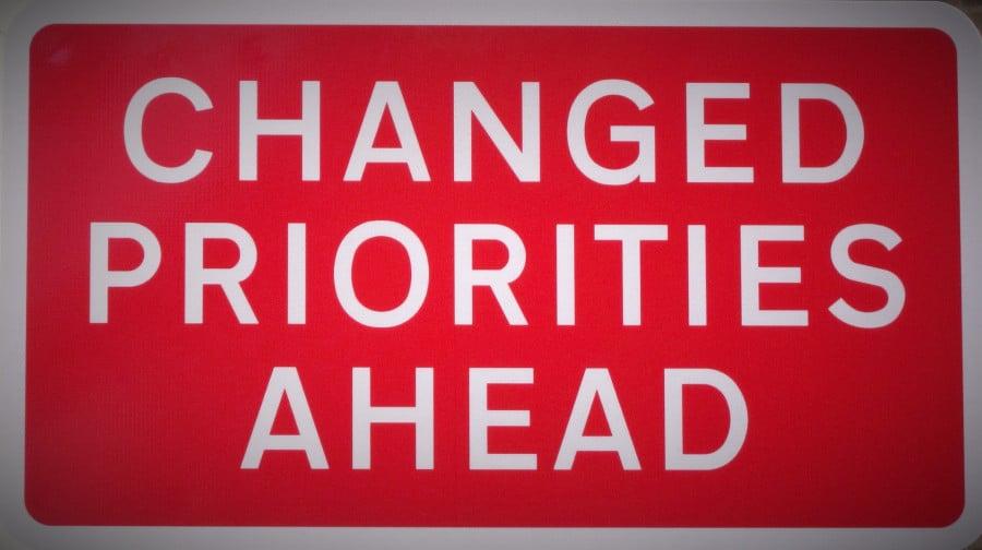 changed priorities ahead